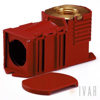 Inbouwdoos BEGETUBE 1/2Fx16/2mm PERS rood GRATIS BEGETUBE BEVESTIGINGSPLAAT