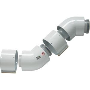 Vaillant set (2) conc. bocht 45 alu/pp 60/100 mm